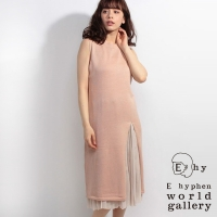 【E hyphen world gallery】【SET ITEM】慵懶長版針織上衣+褶裙組(20171HA0014)