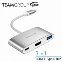 ★USB3.1/HDMI/Type-C★ TEAM WT01 TYPE-C 三合一轉接器 - 白銀