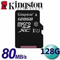 【Kingston 金士頓】128GB 80MB/s microSDXC TF U1 C10 記憶卡(SDCS/128GB)