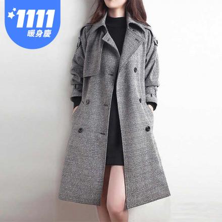 風衣外套長版大衣-S-3XL
